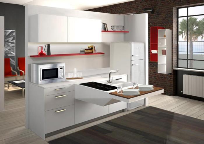 Keuken Hoogglans Wit Achterwand : Snaidero Board keuken opgesteld in wit hoogglans gecombineerd met rood