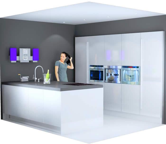 kleur muur hoogglans witte keuken  atumre, Meubels Ideeën