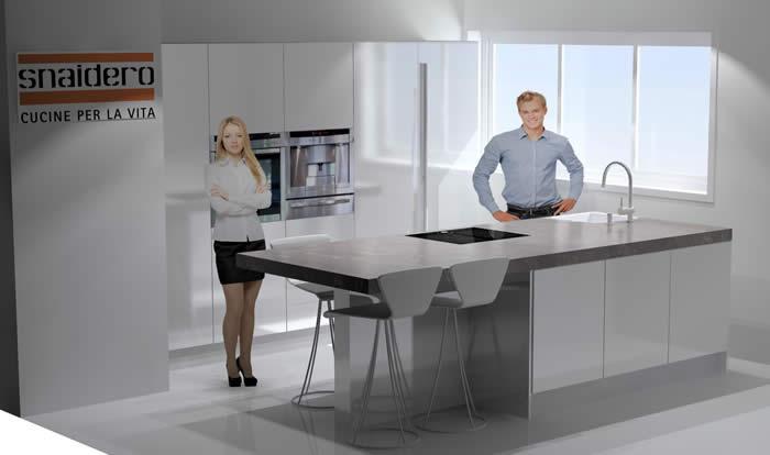 Oude Keuken Ophalen : computer tekening van de nieuwe Snaidero keuken in wit hoogglans lak