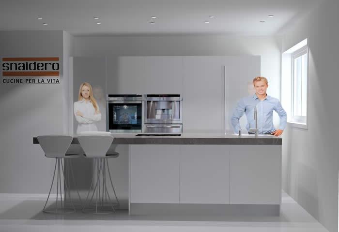 Oude Keuken Ophalen : Computertekening van de nieuwe Snaidero keuken in wit hoogglans lak.