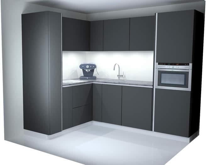 Keuken Zwart Mat : 642 is in mat zwarte lak gespoten. Het werkblad is eveneens mat zwart