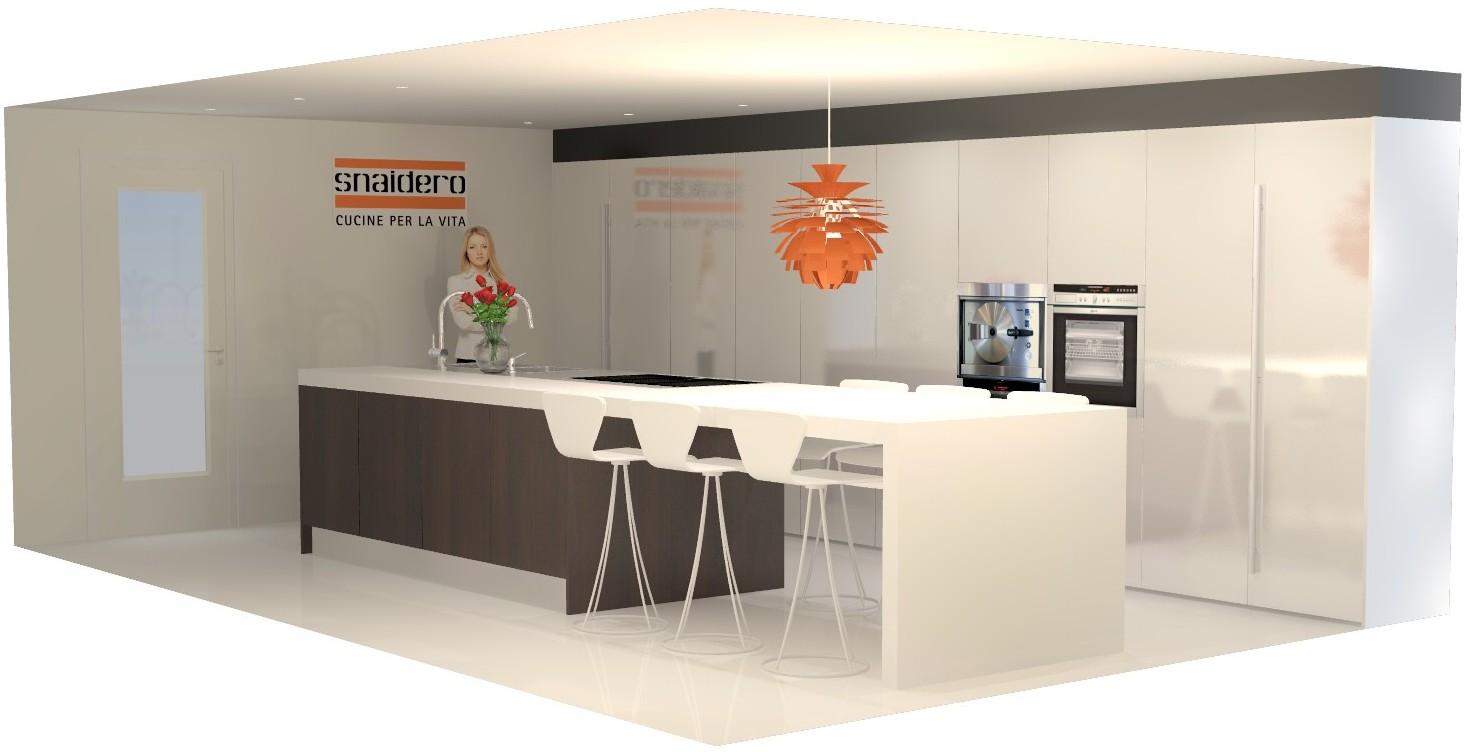 Keuken Wit Hout : Keukenplan met donker hout en wit hoogglans.