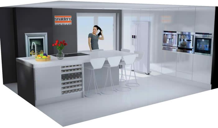 De tekening van de nieuwe Snaidero keuken in Bergen op Zoom (project 620).